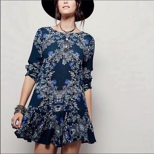 Free People Smooth Talker Green Floral Tunic Dress